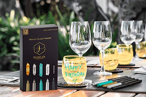 Wine Glass Markers Write Your Name at Bachelorette Party with Mirror Markers for Wine Glasses eBook and Microfiber Cleaning Cloth Marker Pens Set of 5