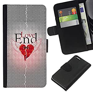 All Phone Most Case / Oferta Especial Cáscara Funda de cuero Monedero Cubierta de proteccion Caso / Wallet Case for Apple Iphone 5C // Love Heartbreak Quote Broken Heart Wings