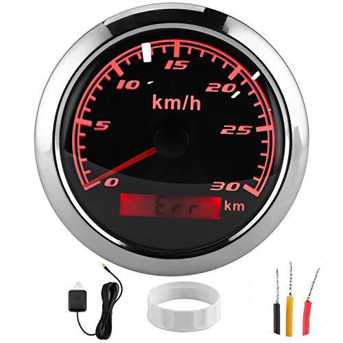 KM GPS Snelheidsmeter Kilometerteller Gauge 85mm 30 KM/H IP67 Waterdicht voor Boot Auto Jacht Motorfiets(zwart)