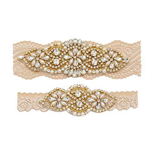 Yanstar Wedding Bridal Garter Champagne Stretch Lace Bridal Garter Sets with Gold Rhinestones Clear Crystal Pearl for Wedding ()