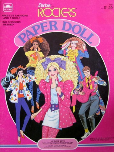 Barbie & The ROCKERS PAPER DOLL BOOK w Derek, Barbie, Dana, Dee Dee & Diva Dolls (1986) by Barbie