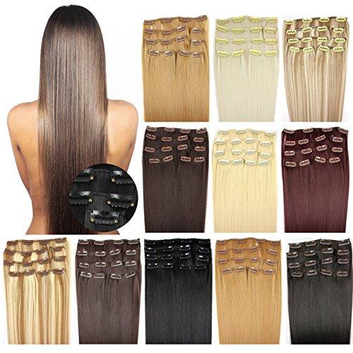OUBO Clip in Extensions Haarteile für eine komplette ganzen Kopf Haarverlängerung Haarverdichtung glatt 135g 145g hochwertiges dickes Haar 7 Tressen 16 Clips 45cm 55cm Top -P14/60# Dunkelblond-Weißblond, 55cm