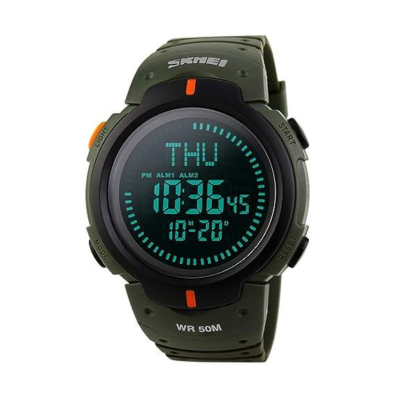 Brújula Impermeable 50M Deportes Reloj digital para hombre Big Dial World Time Cronómetro Alarma Exterior Multifunción Electrónico Reloj de pulsera-Verde: ...