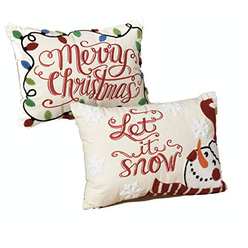 Gerson Embroidered Christmas Throw Pillows Set of 2