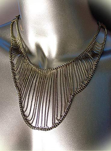 Unique Urban Artisanal Antique Gold Chains Layered Drape Necklace For Women
