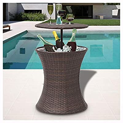 K&A Company Outdoor Tables, Ice Cooler Bucket Table Poly Rattan Brown