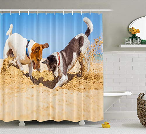 Asoco Fabric Shower Curtain Jack Couple Dogs Sand Beach Summer Holiday Vacation Ocean Shore Behind Bathroom Shower Curtains Mildew Resistant Waterproof Set of Hooks 72X78 ()