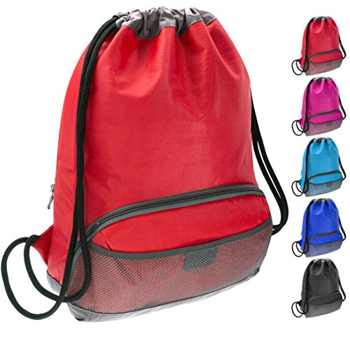 Drawstring Tights (ButterFox Waterproof Fabric Drawstring Swim PE Gym Sports Bag Bookbag Sackpack Backpack for Kids, Girls, Boys, Men and Women - Red)