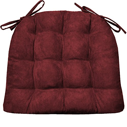 Barnett Products Dining Chair Pad with Ties – Microsuede Wine Red Micro Fiber Ultra Suede – Size Extra-Large – Reversible, Latex Foam Filled Cushion, Machine Washable (Wine Red, Extra-Large)