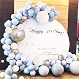 Blue Balloons-50pcs 12 inch Metallic silver