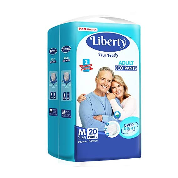 Liberty Eco Adult Diaper Pants Unisex, Medium 20 Pcs, Waist Size (61-115 cm | 24-45 Inches)