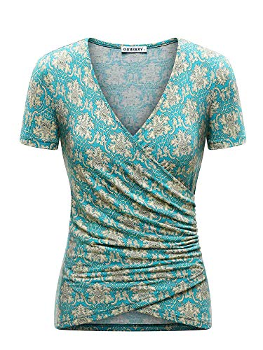 GUBERRY Womens Wrap Top Short Sleeve Deep V Neck Cross Wrap Sexy Shirts Blouses Turquoise