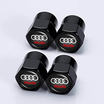 Jazzshion 4 Pcs Metal Car Wheel Tire Valve Stem Caps for Audi S Line S3 S4 S5 S6 S7 S8 A1 A3 RS3 A4 A5 A6 A7 RS7 A8 Q3 Q5 Q7 R8 TTWith Key Chain Logo Styling Decoration Accessories: Automotive