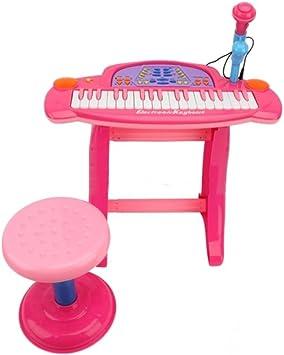 Teclado electrónico para grabación de karaoke de NMIT®, para niños, con taburete y luces, megaestación de música, 36 teclas, 32 funciones, micrófono, ...