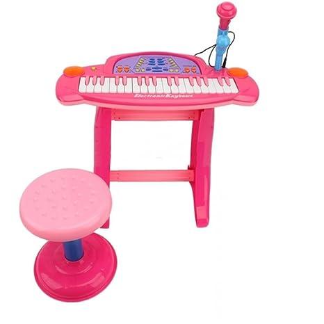 Childrens grabación Karaoke teclado Piano electrónico con compartimento teclado eléctrico con luces para niños niñas –