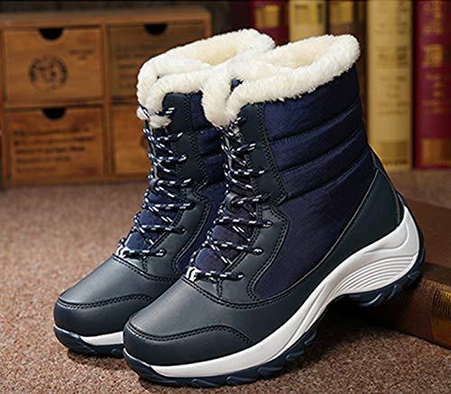 Lacets Plates Bottes Boots Bottines Jackshibo Fille Neig Femme Fourrure Hiver De Brun Axx8TwBgq