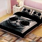 LELVA Black Cat Children's Duvet Cover Set, Kids Bedding Set, Twin Full Queen Size (Queen)