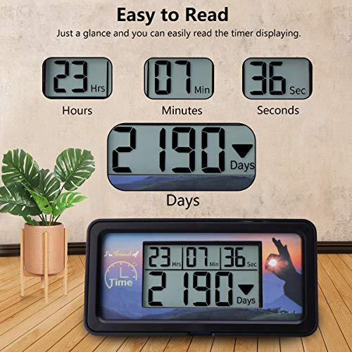 AIMILAR Digital Countdown Days Timer - 9999 Days Count Down Days Timer With Backlight for Retirement Wedding Vacation Christmas New Baby Classroom Lab Kitchen Cooking (Black) by AIMILAR (Image #6)