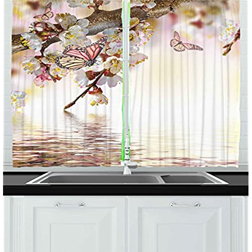 ambesonne kitchen decor collection natural floral japanese style garden cherry blossom sakura tree butterfly nature window treatments for kitchen curtains - Kitchen Window Curtains