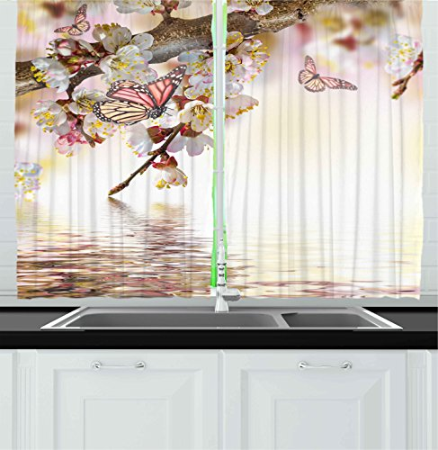 Ambesonne Kitchen Decor Collection, Natural Floral Japanese Style Garden Cherry Blossom Sakura Tree Butterfly Nature, Window Treatments for Kitchen Curtains 2 Panels, 55X39 Inches, Pastel Pink Yellow (Butterfly Panel)