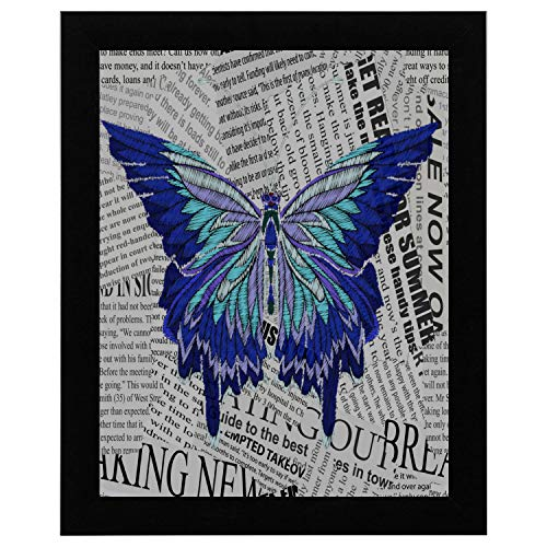 SEGFG Words Wall Decor Embroidery Embroidered Design Element Butterfly Vintage Wooden Frame Painting Word 12x16 Inch Dining Wall Decor (Words Embroidery Design)