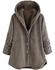 iFOMO Fleece Coat Women with Hoodie Plus Size Oversize Jacket Winter Warm Cozy Plaid 2019 Brown 4XL