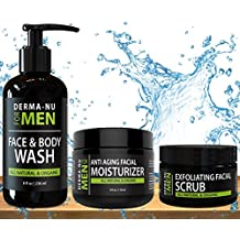 All-In-One Anti Aging Daily Skincare Set for Men - Gentleman's Grooming Kit - Unclogs Pores, Fights Acne and for Ingrown Hair Prevention - 3 Piece Set