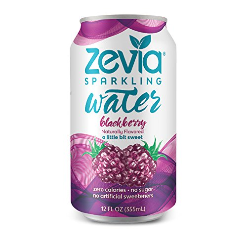 Just Blackberries (Zevia Zero-Calorie Beverage, Lightly Sweetened Sparkling Water, Blackberry, (24) 12 Ounce Cans; Naturally Flavored, Perfectly Tart and Just a Little Bit Sweet; Delicious, Refreshing Hydration)