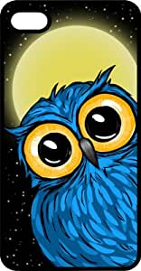 Large Eyed Blue Owl Full Moon Black Rubber Case for Apple iPhone 5 or iPhone 5s