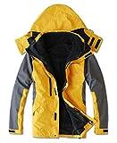 HOOHAY Men's Two In One Waterproof Mountain Jacket Windproof Yellow Ski Jacket 4L