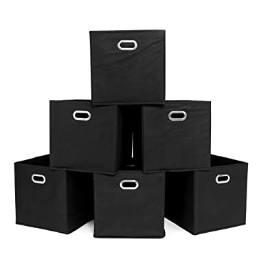 Catwalk 6 Pack Foldable Storage Bins Cubes Organizer with Two Handle for Cube Shelf Units Black