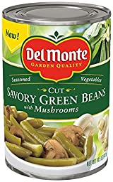 Del Monte, Seasoned Vegetables, Savory Green Beans with Mushrooms, 14.5oz Can (Pack of 6)