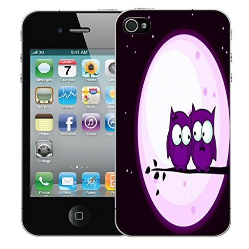 Mobile Case Mate iPhone 4 Silicone Coque couverture case cover Pare-chocs + STYLET - Purple Night Owls pattern (SILICON)