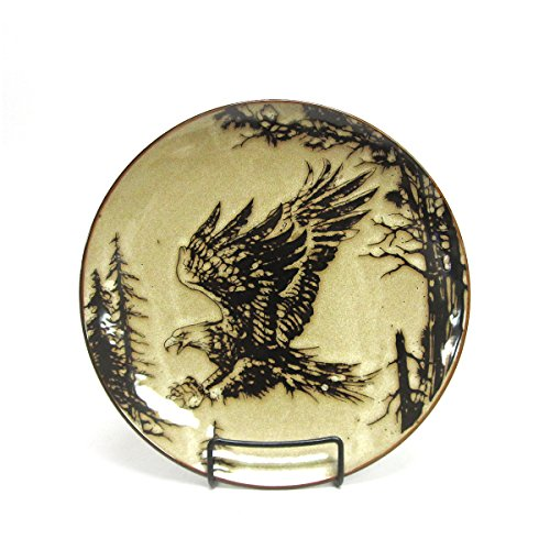 North America Woodlands Grasping Eagle Stoneware Dinner Plate American Wildlife Collection Dinner Plate
