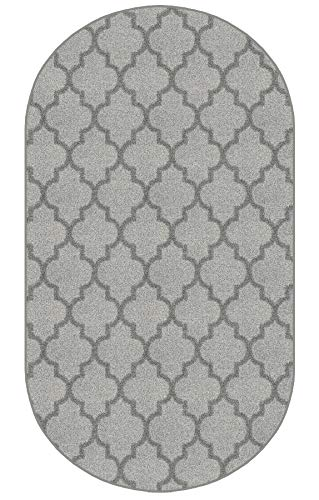 Oval 3'X5' - Cadet, Milliken Carpet - Cavetto II Pattern | Designers Dream Collection in Made-to-Order Custom Sized Area Rugs & Runners, Stainmaster Nylon