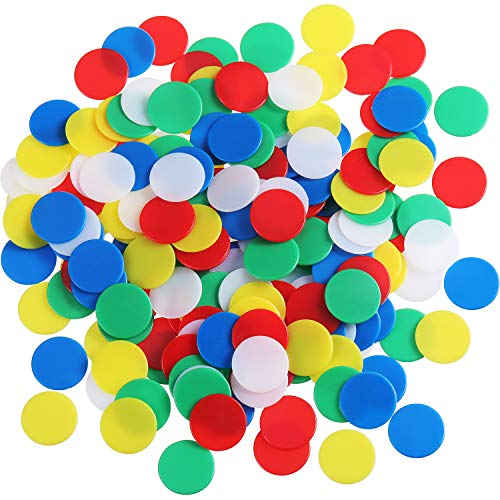 Pangda 200 Pieces Colored Plastic Counters Counting Chips Bingo Markers with Storage Bag for Math or Games (Multicolor A)