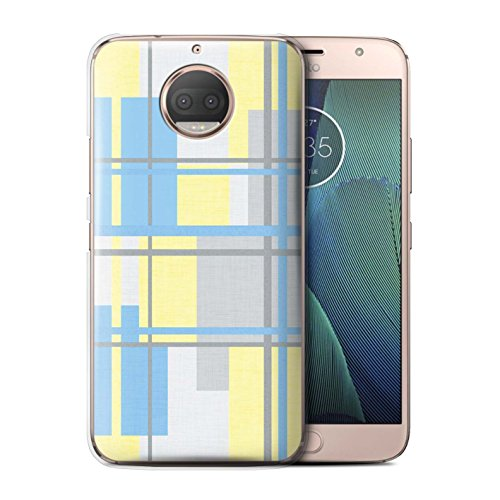 STUFF4 Phone Case/Cover for Motorola Moto G5S Plus/Fabric Textile Design/Yellow Fashion (Phone Covers Fabric Snap)