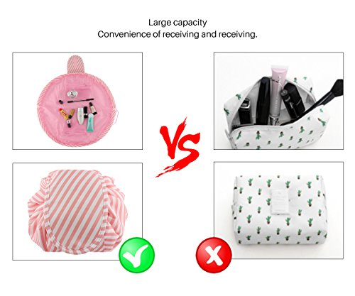 Lazy Portable Makeup Bag Large Capacity Waterproof Travel Cosmetic Bag Quick Easy Pack Round Travel Toiletry Bag Perfect for Storage Pretty Fashion Pattern Drawstring Bag (Pink stripe) by Edapter (Image #4)