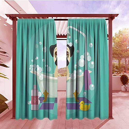 Outdoor Blackout Curtain Nursery Decor Collection Pug Dog in Bathtub Grooming Doggy Puppy Salon Service Shampoo Rubber Duck Pets Cartoon Image Room Darkening, Noise Reducing W72x84L Teal
