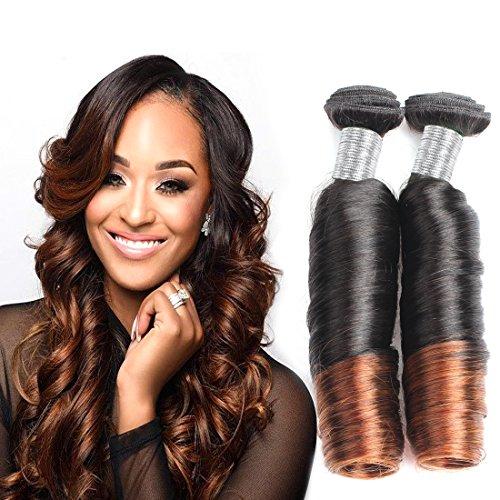 Allove Hair 8A Brazilian Ombre Spring Curl Weave Human Hair 3 Bundles(12 14 16) Virgin Romance Bouncy Curls Human Hair Weave Unprocessed Funmi Hair Extensions Ombre Color 1B/4