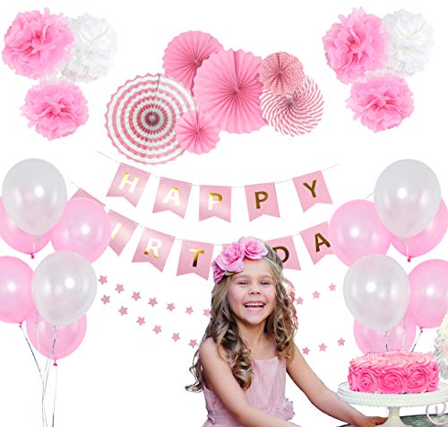 Pink Birthday Party Decoration Set – Happy Birthday Banner, Pink Paper Fans, Star Paper Garland, Colorful Balloons & Tissue Pompoms – 27-Piece Girls Birthday Party Decor Supply -