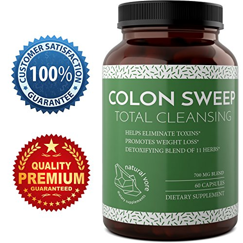 Best Colon Cleanse Supplement Natural Colon Detox Pills for Men and Women with Pure Lactobacillus Acidophilus Probiotics – Psyllium Husk Oat Alfalfa Digestion Support 60 Capsules by Natural Vore