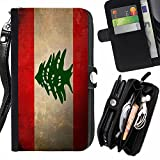 Graphic4You Vintage Lebanese Flag of Lebanon Design Zipper Wallet With Strap Card Holder Case Cover for Apple iPhone 6 Plus / 6S Plus