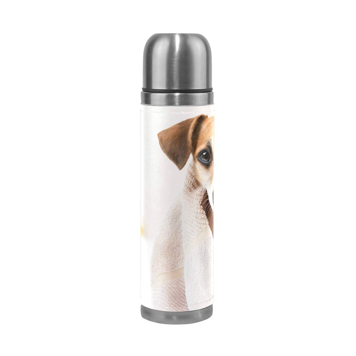 Clean Pet Spa Water Bottle Stainless Steel Leak Proof Double Walled Vacuum Insulated Travel Coffee Mug Genuine Leather Cover Drink Cup 17 OZ