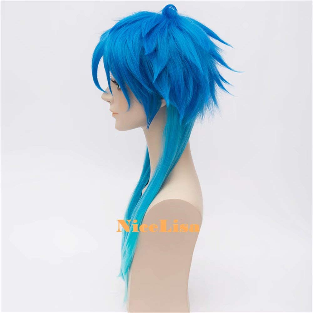 Nicelisa Halloween party Cosplay parrucca lunga gradiente blu Boy maschio anime Comic costume WIG