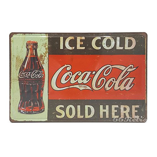 Ice Cold Coca Cola Sold Here!, Retro Embossed Metal Tin Sign, Wall Decorative Sign