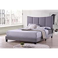 Kings Brand Furniture - Corinth Smoke Gray King Size Upholstered Bed