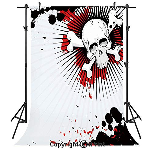 Halloween Photography Backdrops,Skull with Crossed Bones Over Grunge Background Evil Scary Horror Graphic,Birthday Party Seamless Photo Studio Booth Background Banner 10x20ft,Pearl Red Black -