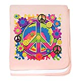 Royal Lion Baby Blanket Neon Smiley Face Floral Peace Symbol - Petal Pink