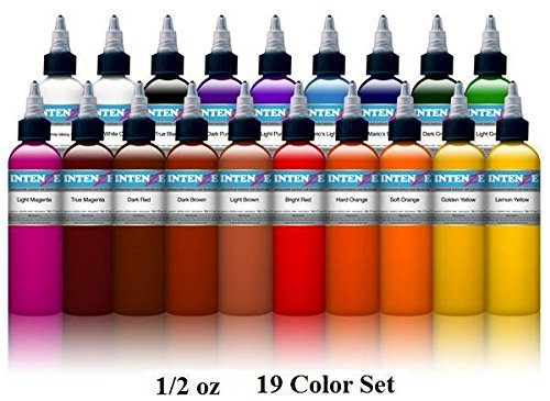 (Intenze Tattoo Ink Set - 19 Basic Bright Professional Color Tattoo Inks - 1/2 Ounces Each)